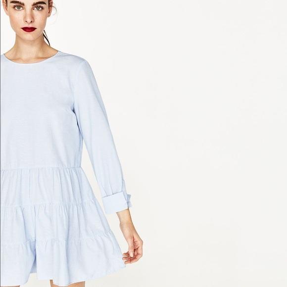 cb8bcf39 Zara Pants | Nwt Baby Blue Ruffled Hem Romper Dress | Poshmark